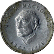 Shell Oil Token - Prime Ministers of Canada (1867-1878 - John A. MacDonald) – obverse