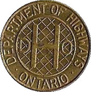 Token - Ontario Department of Highways (1 Class vehicle) – obverse