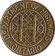 Token - Ontario Department of Highways (Class 1 vehicle; Large crosshatching) -  obverse
