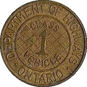 Token - Ontario Department of Highways (Class 1 vehicle; Large crosshatching) -  reverse