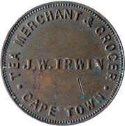 Token - JW Irwin Tea Merchant & Grocer (Cape Town) – obverse
