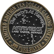 10 Dollar Gaming Token - Harvey's Casino (Lake Tahoe, Nevada) – reverse