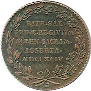 Token - Franz II (Arrival and Inauguration) – reverse