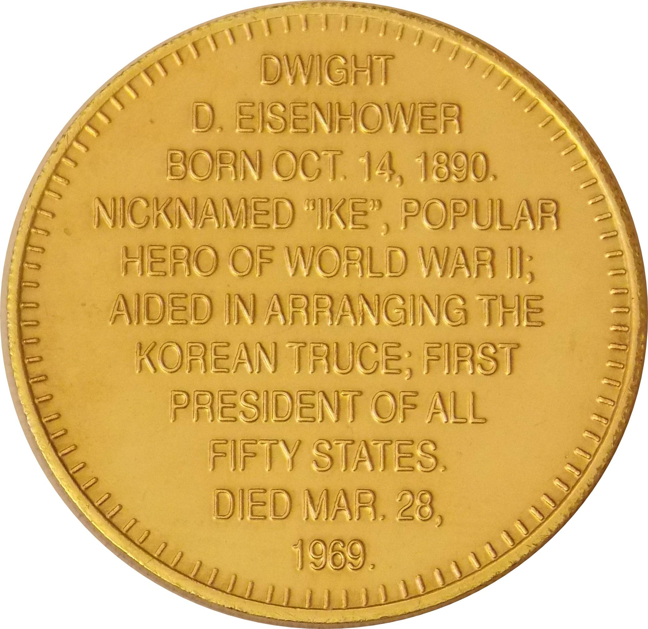 EISENHOWER 1953-1961 Commemorative Token Collectible President DWIGHT D