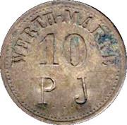 """10 Pfennig (Werth-Marke; Brass; Countermarked """"PJ"""") – obverse"""