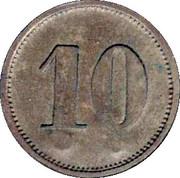 """10 Pfennig (Werth-Marke; Brass; Countermarked """"PJ"""") – reverse"""