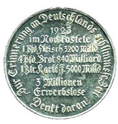 German Inflation Medallion – reverse