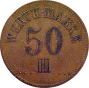 """50 Pfennig (Werth Marke; Countermarked """"IHI"""") – obverse"""