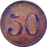 """50 Pfennig (Werth Marke; Countermarked """"IHI"""") – reverse"""