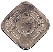 "5 Cents - Beatrix (Wilhelmina; ""Moeder des Vaderlands"") – reverse"