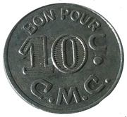 10 Centimes - C.M.C./M.H.K. (Military Canteen Token) – obverse