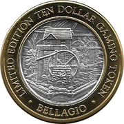 10 Dollar Gaming Token - Bellagio (Las Vegas, Nevada) – reverse