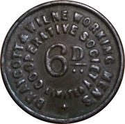 6 Pence - Draycott & WIlne Co-operative Society Limited – obverse