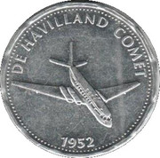 Shell Token - Man In Flight (De Havilland Comet 1952) – obverse