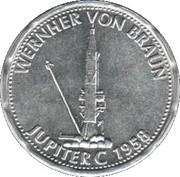 Shell Token - Man In Flight (Wernher von Braun - Jupiter C 1958) – obverse