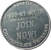 Token - Sons of Confederate Veterans – reverse