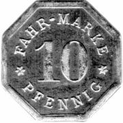 10 Pfennig - Strasbourg Tramway Token – reverse