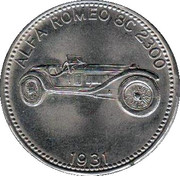 Shell Token - Famous Sports Cars (Alpha Romeo 8 C 2300 1931) – obverse