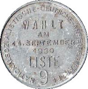 Nazi Party Voting token - Parliamentary elections of September 14 – reverse