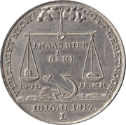 Medal at the 1816/1817 famine – reverse