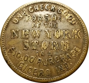 50 Cents - The New York Store (Cicero, IN) – reverse