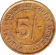 5 Shillings - Williams Bros. Direct Supply Stores Ltd – reverse