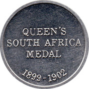Cleveland Petrol Token - Queen's South Africa medal 1899-1902 – reverse