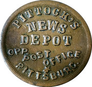 Pittock's News Depot (Opp. Post Office) store card – obverse