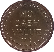 "Token - No Cash Value (Eagle looking left; ""Freedom""; with date; Brass; 25 mm) – reverse"