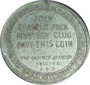Token - Cracker Jack Mystery Club (6th President John Quincy Adams) – reverse