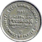5 Cent Gaming Token - President Riverboat Casino – reverse