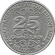 25 Cent Gaming Token - Biloxi Belle Casino – reverse