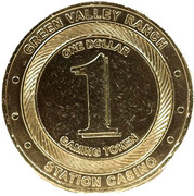 1 Dollar Gaming Token - Green Valley Ranch Casino (Henderson, Nevada) – reverse