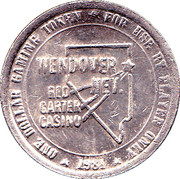 1 Dollar Gaming Token - Red Garter Casino (Wendover, Nevada) – reverse