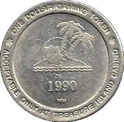 1 Dollar Gaming Token - Treasure Island Casino (Welch, Minnesota) – reverse
