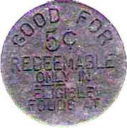 5 Cents - Food Stamp Credit Token (Farmer Jack's) – reverse