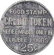 25 Cents - Food Stamp Credit Token (Penn Fruit; Philadelphia PA) – reverse