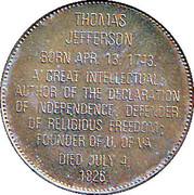 Token - Presidential Hall of Fame (Thomas Jefferson) – reverse