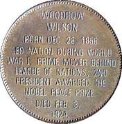 Token - Presidential Hall of Fame (Woodrow Wilson) – reverse