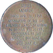 Token - Presidential Hall of Fame (James Monroe) – reverse