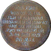 Token - Presidential Hall of Fame (John Adams) – reverse