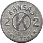 2 Mills - Sales Tax Token (Kansas) -  obverse