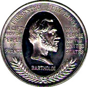 1884 Bartholdi Statue of Liberty Presentation Medal – obverse