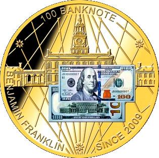 Token 100 Dollars Banknote Benjamin Franklin Tokens