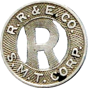 1 Fare - R. R. & E. CO. (Roanoke, Virginia) – obverse