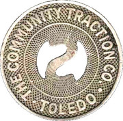 School Fare Token - The Community Traction Co. (Toledo, Ohio) – obverse