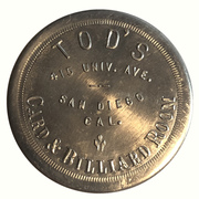 1 Dollar - Tod's Card & Billiard Room (San Diego, California) – obverse