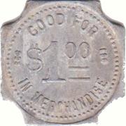1 Dollar - C.J. Kruse General Merchandise (Winslow, Nebraska) – reverse