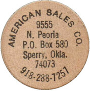 Wooden Nickel - American Sales Co. (Sperry, Oklahoma) – obverse