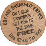 Wooden Nickel - Buy Any Breakfast – obverse